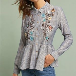NWT Anthropologie HD in Paris Ella embroidered top